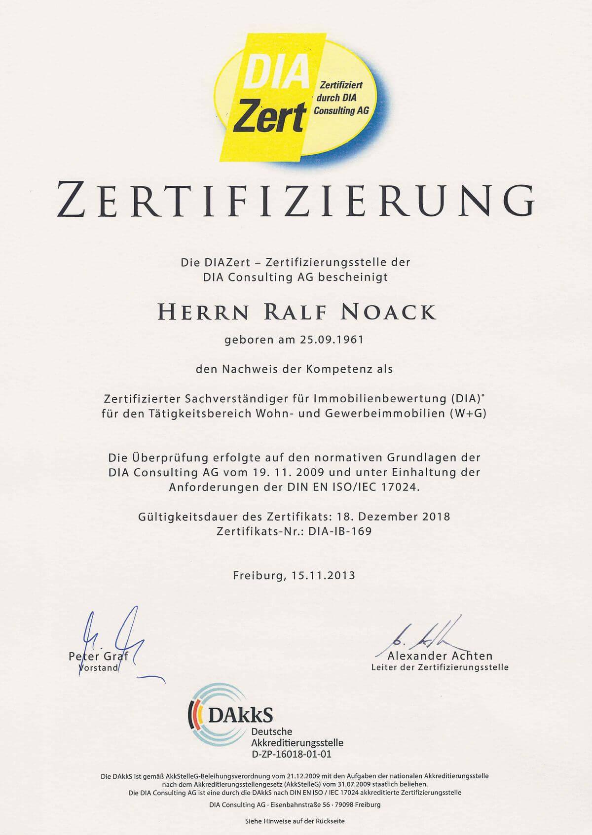 (Re)Zertifizierung - Öffentlich bestellter und Vereidigter Immobiliengutachter